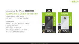 Oraimo Aurora 6 Pro   OPB-B602D   6,000mAh Fast Charging Power Bank