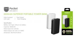 Oraimo Pocket | OPB-B661D | 6,600mAh Fast Charging Power Bank