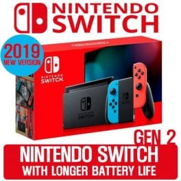 Nintendo Switch 32GB Console 2nd Gen (2019) - Neon Red/Neon Blue Joy-Con