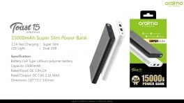 Oraimo Toast 15 | OPB-P151D | 15,000mAh Super Slim Fast Charging Power Bank