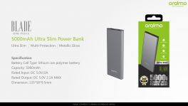 Oraimo Blade | OPB-P501S | 5,000mAh Ultra Slim Fast Charging Power Bank