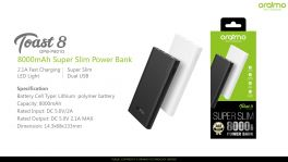 Oraimo Toast 8 | OPB-P801D | 8,000mAh Super Slim Fast Charging Power Bank